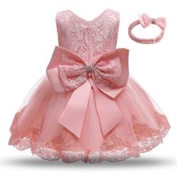 Prinsess fest klänningar med fluga och pannband Pink 110