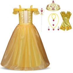 Princess Belle klänning Skönheten & odjuret  + 7 extra tillbehör Yellow 120