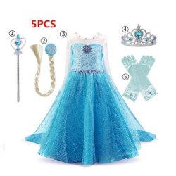 Elsa princess klänning + handskar/trollstav/krona/fläta LightBlue 120