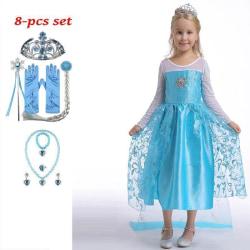 Elsa prinsessa klänning +8 extra tillbehör LightBlue 130