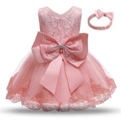 Prinsess fest klänningar med fluga och pannband Pink 100