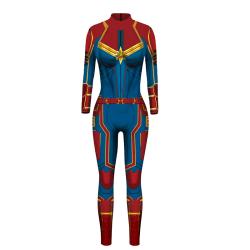 Captain Marvel Iron Man Print Skinny Long Sleeve Jumpsuit bule S