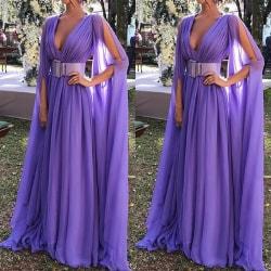 2021 summer new women's dress sexy deep V dress long skirt purple M