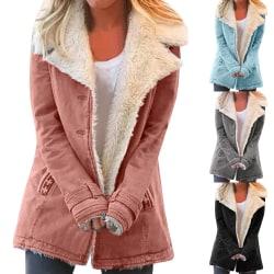 Kvinnors fluffiga långärmade kappa Fritid Varm vinterkläder grå S