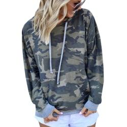 Kvinnors kamouflagesömmar med långärmad tröja med huva gray M