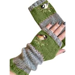 Broderade handskar för sömmar för kvinnor_ retro -handskar för långa mode_ green