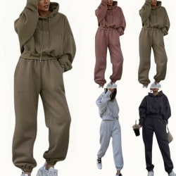 2ST Kvinnor Träningsdrag Set Hoodie Toppar Byxor Gym Sport Loungewear