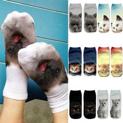 3 Par Animal Animal Cat 3D Printed Boat Socks Ankel Socks 659