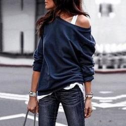 Kvinnors diagonala krage avslappnad trendig topp-T-shirt med lång ärm dark blue M