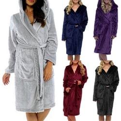 Badrock för fleece för kvinnor, mjuk huva, varm mantel Grå L