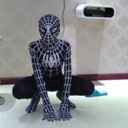 Black Spiderman One Piece Halloween Cosplay-kostym 150-160