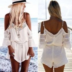 Boho Kvinnor Ladies Cold Shoulder Chiffon Playsuit Beach Summer L