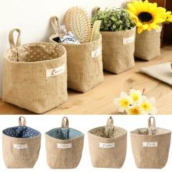 Bomullslinne hängande mini förvaringskorg hem leksak diverse väska Yellow Striped 11.5 * 13 cm