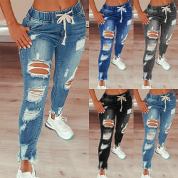 Boyfriend style ripped jeans cute distressed jeans casual jeans light blue M
