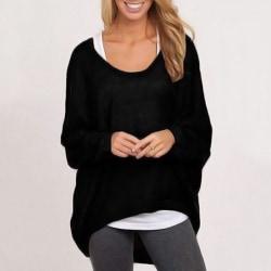 Kvinnors höstlångärmad lös, avslappnad tröja black XL