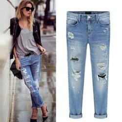 Dam med hög midja skinny stretch jeans slitna, slitna jeansbyxor M