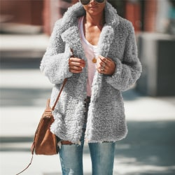 Dammode Långärmad kavaj Faux fårskinn pälsjacka varm vinter ljusgrå M