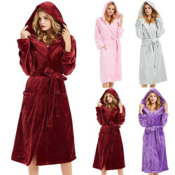 Woman's hoodie with bathrobe, solid color comfortable nightgown Wine red S