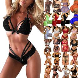 Kvinnors erotiska underkläder sexig bh-underkläder underkläder nattkläder röd XL