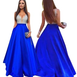 European and American dress sexy V-neck sleeveless dress blue M