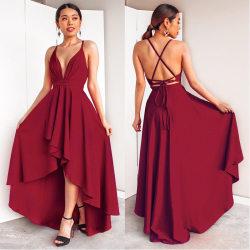 Europeisk och amerikansk ny sexig V-ringad klänning lång kjol Red wine XL