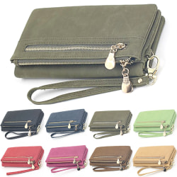 Fashionabla dubbla dragkedja lång plånbok är lätt att bära Dark green