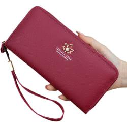 Trendig retro lönnblixtlås lång plånbok lätt att bära Big red 19.5*10*2.8cm