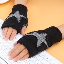Femspetsiga stjärntryckta stickade handskar halvfingerhandskar black