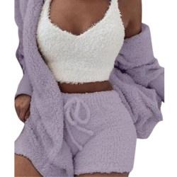 Fluffy Home Wear Casual Sleepwear Sets Pajamas Light Purple S
