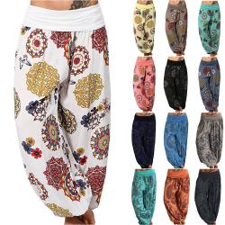 Harem Hippie Pants Womens Yoga Floral Boho Bottoms Traousers Khaki M