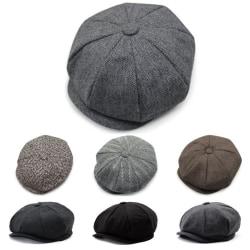 Herringbone Newsboy herrhatt _ Flat Top Hat _ Herrhatt Black dark gray