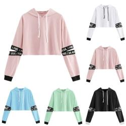 Koreansk stil Kawaii Girl Crop Top Hooded white L