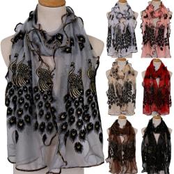 Kvinnors påfågel silkesjal sjal mode retro halsduk Beige 190-40cm