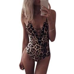 Kvinnas sexiga underkläder-kattdräkt _ leopardunderkläder leopard S