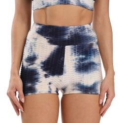 Europeiskt och amerikanskt yoga-shorts med tryckfärg Blue and white S