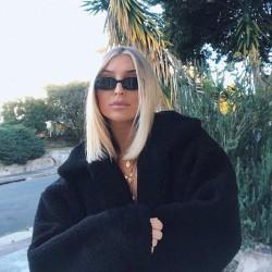 Kvinnors beskuren jacka Notch Revers Faux Fur Fluffy Coat svart L