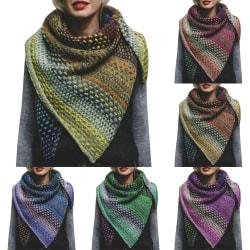 Women's color striped wild bib scarf shawl fashion retro scarf blue
