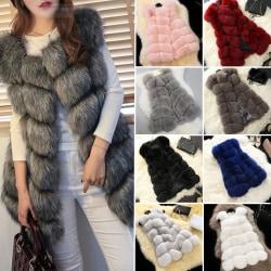 Kvinnors faux päls sömmar väst kort västrock ärmlös jacka rosa XL