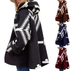 Kvinnors geometriska mönster ullrock vinterjacka kappa lös kappa burn 3XL