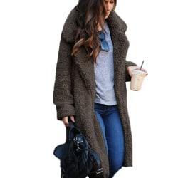 Kvinnors kavaj med öppen front lång koftajacka Varm vinterjacka mörkgrå 2XL