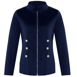Kvinnors öppna front långärmad arbetsblazer Casual jacka kostym mörkblå S