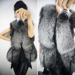 Kvinnors ring pälsväst kort västjacka kappa ärmlös jacka S