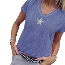 Kvinnors stjärntryck S-5XL sommart-shirt i plusstorlek