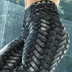 Ladies woven printed yoga pants fitness sports yoga pants black M