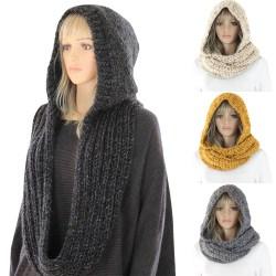 Kvinnors vinterstickad långhalsad halsduk med varm sjal Turban Svart