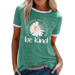 Damer avslappnad lös sommarblus retro-t-shirt med tryck Green M