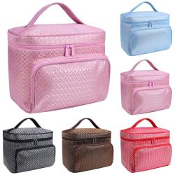 Ladies Fashion Large Cosmetic Makeup Bag Zipper Tote Bag Pink 22*16*17cm