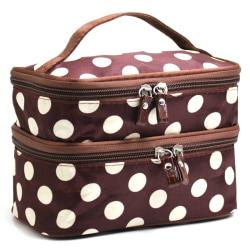 plånbok Ladies 'fashion trend big dot kosmetisk väska förvaringsväska Coffee white