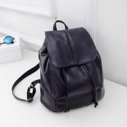 Damer läder ryggsäck stöldskydd handväska skolresa svart Black