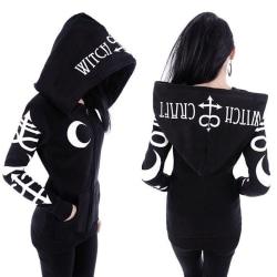 Ladies Moon Gothic Witchcraft Punk Retro Casual Long Hoodie svart L